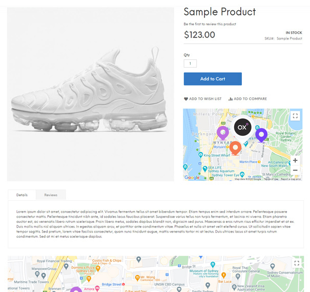 google-map-magento-product-page